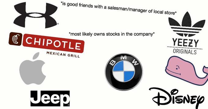 *is good friends with a salesman/manager of local store* 8 owns stocks in the company* YEEZY *most likely CHIPOTLE ORIGINALS MEXICAN GRILL DSNEP Jeep Text Font Logo