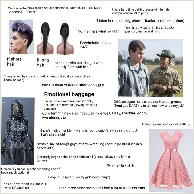 Tough girl in fiction starterpack | r/starterpacks | Starter