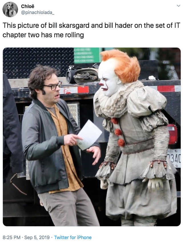 This Picture Of Bill Skarsgard And Bill Hader On The Set Of It