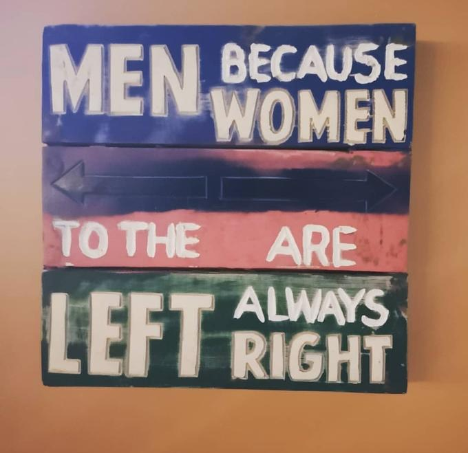 MEN BECAUSE WOMEN ΤΟ THE ARE ALWAYS LEFT RIGHT Text Font