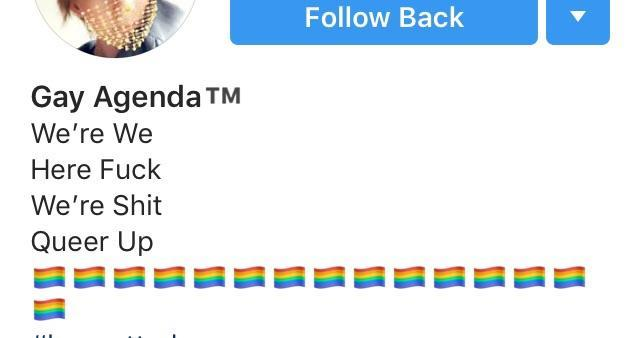 Follow Back Gay Agenda TM We're We Here Fuck We're Shit Queer Up Text Line