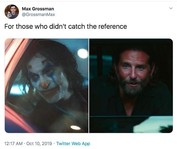 Max Grossman @GrossmanMax For those who didn't catch the reference 12:17 AM Oct 10, 2019 Twitter Web App Face Text Head Human Facial hair