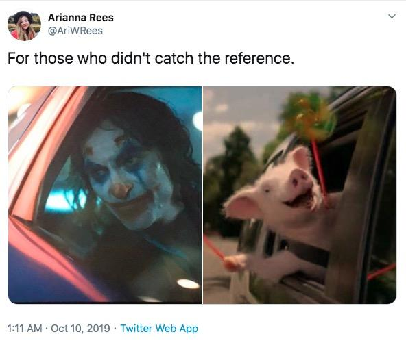 Arianna Rees @AriWRees For those who didn't catch the reference. 1:11 AM Oct 10, 2019 Twitter Web App Human