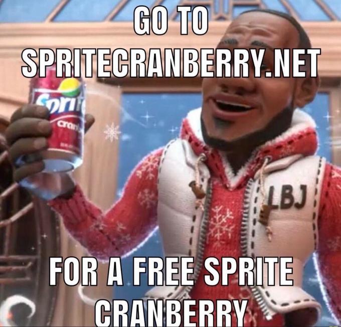 GO TO SPRITECRANBERRY.NET Eornf cran BLBJ FOR A FREE SPRITE CRANBERRY Sprite Soft drink Junk food Drink Cool