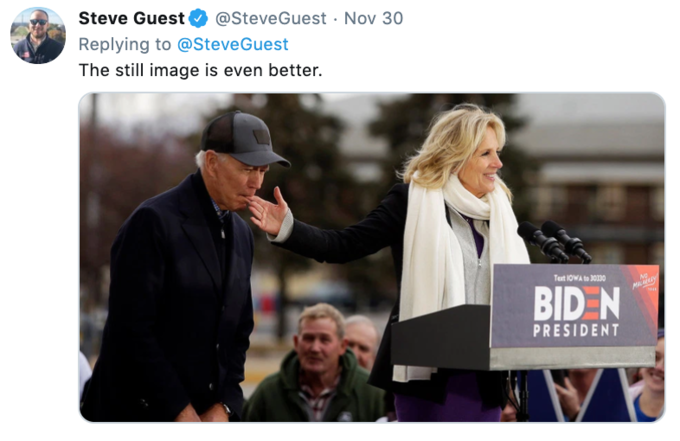Steve Guest @Steve Guest Nov 30 Replying to @SteveGuest The still image is even better. Text 10WA to 30330 MLy BID N PRESIDENT