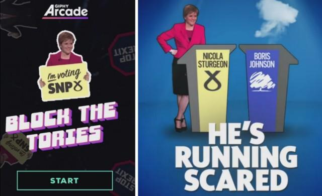 Arcade GIPHY EXIT dO Iim voting SNP8 NICOLA STURGEON BORIS JOHNSON BLOCK THE TORIES NP HE'S RUNNING SCARED START EXIT STOP Font T-shirt
