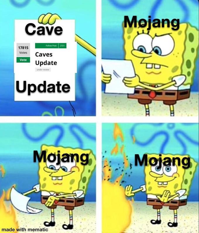 A cave update meme, popular in the community