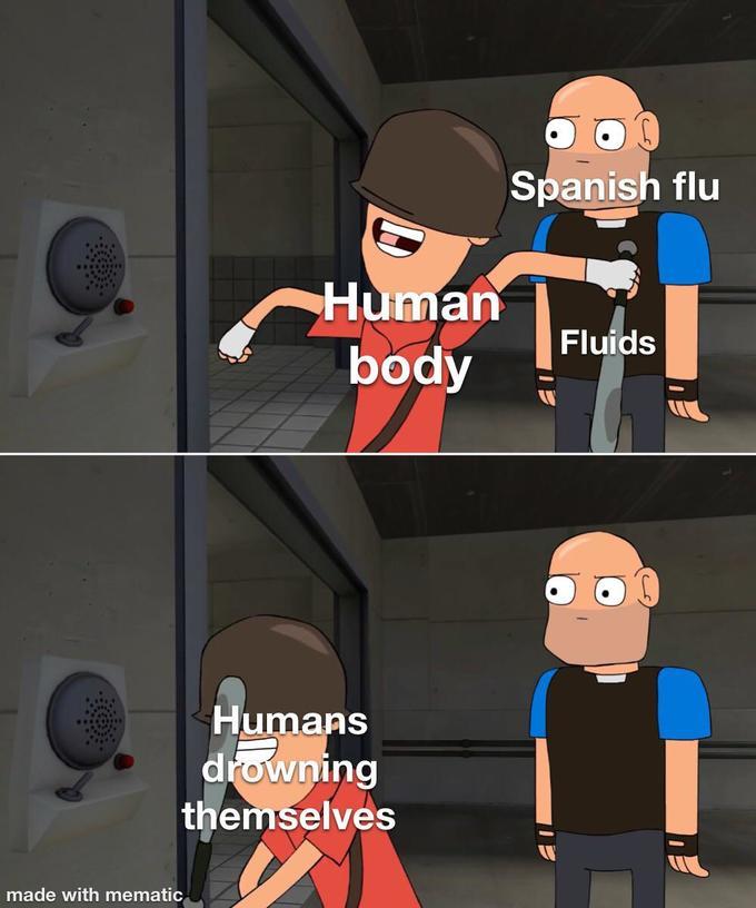 Spanish flu Human Fluids body Humans drowning themselves made with mematic Cartoon Animated cartoon Animation