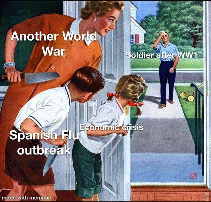 Another World War Soldier after WW1 Economic crisis Spanish Flu outbreak KA made with mematic Product Photo caption