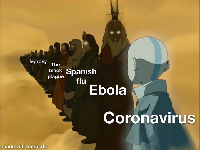leprosy The Spanish flu Ebola black plague Coronavirus made with mematic Cartoon