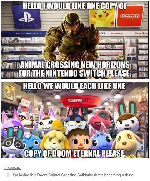 animal crossing x doom eternal memes