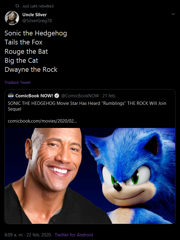 Dwayne The Rock Sonic The Hedgehog 2020 Film Know Your Meme