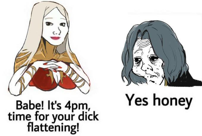 Yes honey Babe! It's 4pm, time for your dick flattening! Face Cartoon Nose Head Text