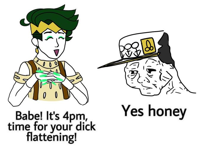 Yes honey Babe! It's 4pm, time for your dick flattening! Cartoon Text Line art Font Illustration Line