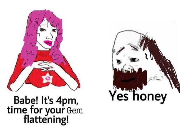 Yes honey Babe! It's 4pm, time for your Gem flattening! Cartoon Illustration
