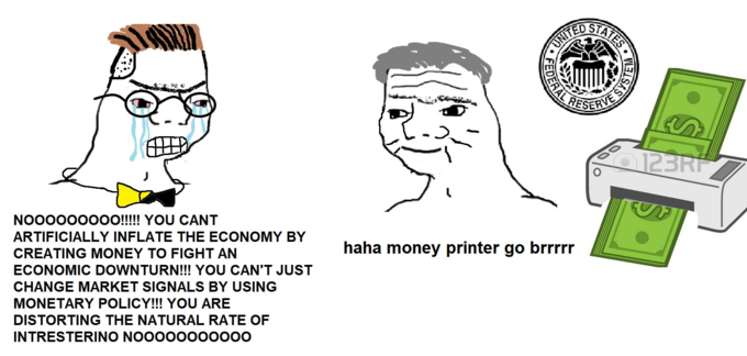 STATES UNITED RESERVE 123RF NO000000O!!!! YOU CANT ARTIFICIALLY INFLATE THE ECONOMY BY CREATING MONEY TO FIGHT AN haha money printer go brrrrr ECONOMIC DOWNTURN!!! YOU CAN'T JUST CHANGE MARKET SIGNALS BY USING MONETARY POLICY!!! YOU ARE DISTORTING THE NATURAL RATE OF INTRESTERINO NOO000000000 REDERALA Cartoon Head Text Nose Line art Jaw