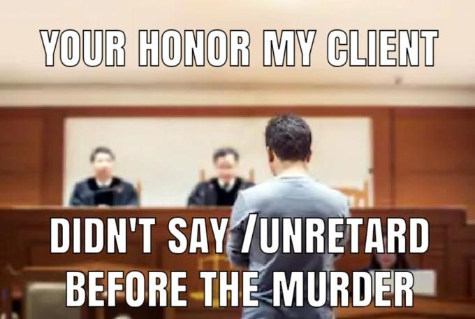 YOUR HONOR MY CLIENT DIDN'T SAY TUNRETARD BEFORE THE MURDER Text Photo caption