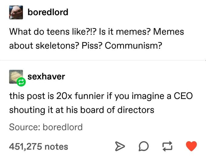 boredlord What do teens like?!? Is it memes? Memes about skeletons? Piss? Communism? sexhaver this post is 20x funnier if you imagine a CEO shouting it at his board of directors Source: boredlord 451,275 notes Text Font Line