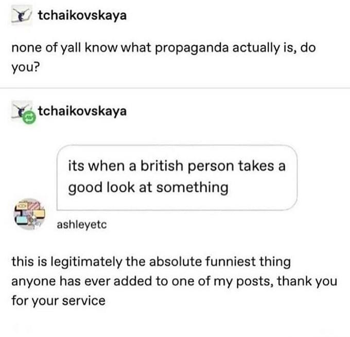 tchaikovskaya none of yall know what propaganda actually is, do you? tchaikovskaya its when a british person takes a good look at something ashleyetc this is legitimately the absolute funniest thing anyone has ever added to one of my posts, thank you for your service Text Font Line