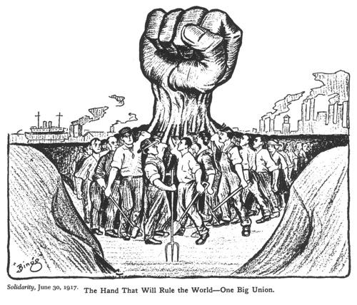 Solidarity, June 30, 1917. The Hand That Will Rule the World-One Big Union. Line art