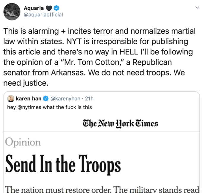 Aquaria @aquariaofficial This is alarming + incites terror and normalizes martial law within states. NYT is irresponsible for publishing this article and there's no way in HELL I'll be following the opinion of a