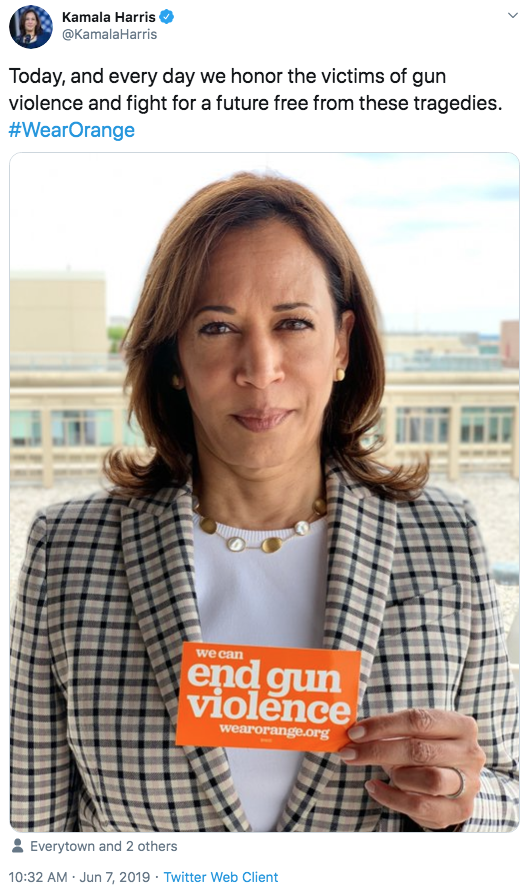 "Kamala Harris @KamalaHarris Today, and every day we honor the victims of gun violence and fight for a future free from these tragedies. #WearOrange end gun violence wearorange.org Everytown and 2 others 10:32 AM · Jun 7, 2019 · Twitter Web Client ></noscript>"" class="" kym-image image-auto-link"" id=""photo_1858480″ title=""Today, and every day we honor the victims of gun violence and fight for a future free from these tragedies. #WearOrange""></a> </center><br /> </p> <h4 id="