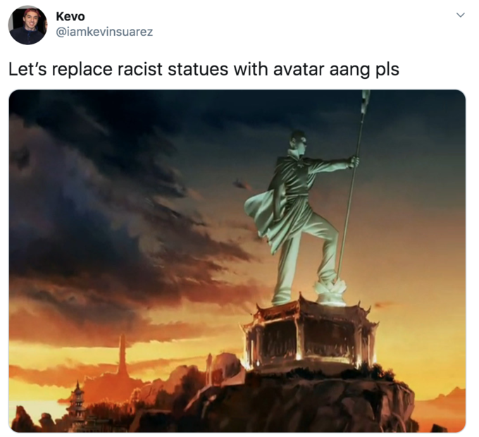 Kevo @iamkevinsuarez Let's replace racist statues with avatar aang pls The Legend of Korra Korra Landmark Sky Statue Monument Stock photography