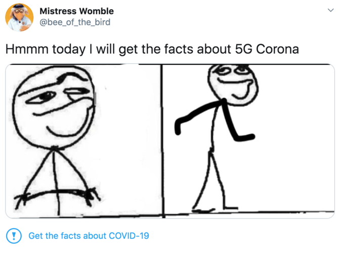 """Mistress Womble @bee_of_the_bird Hmmm today I will get the facts about 5G Corona Get the facts about COVID-19 ></noscript> Cartoon White Face Text Facial expression Line art Head Line Nose Font Human Organism"""" class="""" kym-image image-auto-link"""" id=""""photo_1860139″ title=""""Hmm today i will""""></a> <a href="""