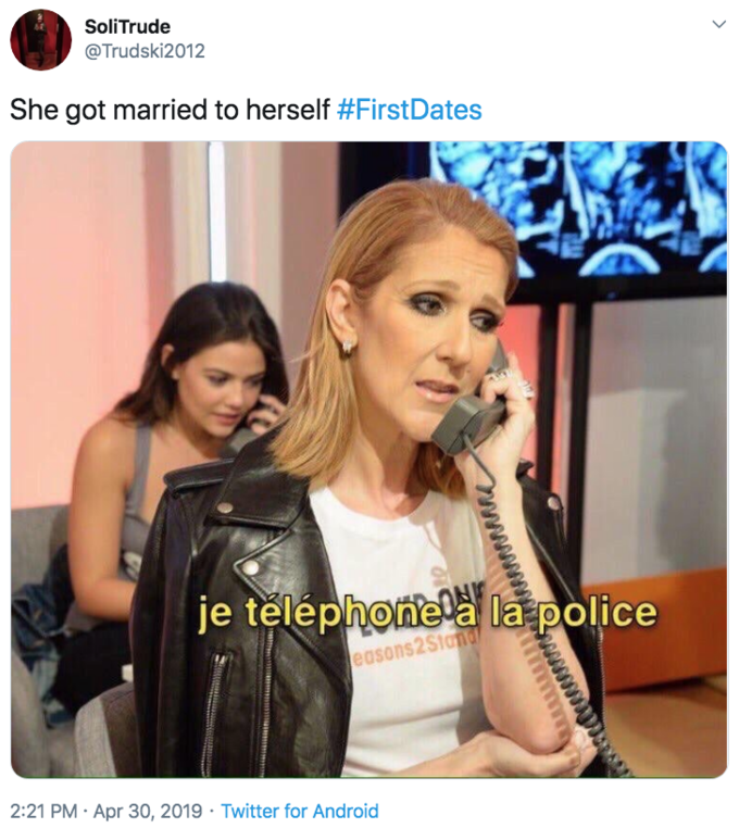 "SoliTrude @Trudski2012 She got married to herself #FirstDates je teléphonela la police easons2Stand 2:21 PM · Apr 30, 2019 · Twitter for Android > Celine Dion Leather Leather jacket"" class="" kym-image image-auto-link"" id=""photo_1860574″ title=""She got married to herself #FirstDates""></a> </center></p> <h2 id="