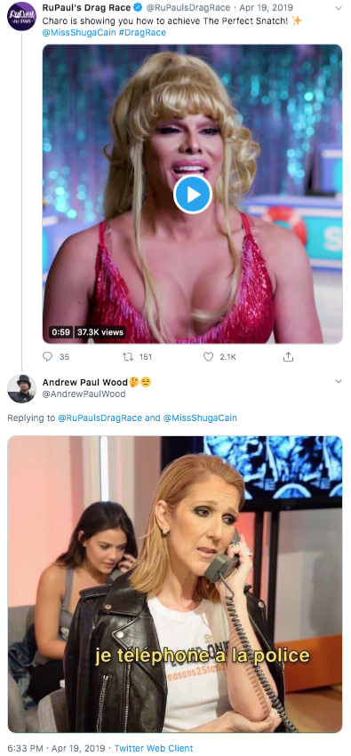 RuPaul's Drag Race O @RuPaulsDragRace · Apr 19, 2019 T Charo is showing you how to achieve The Perfect Snatch! + @MissShugaCain #DragRace 0:59 37.3K views t7 151 35 2.1K Andrew Paul Wood ee @AndrewPaulWood Replying to @RuPaulsDragRace and @MissShugaCain je telephonela la police easons2Stan 6:33 PM · Apr 19, 2019 · Twitter Web Client Taylor Swift Hair Lip Music artist Singer Singing Blond