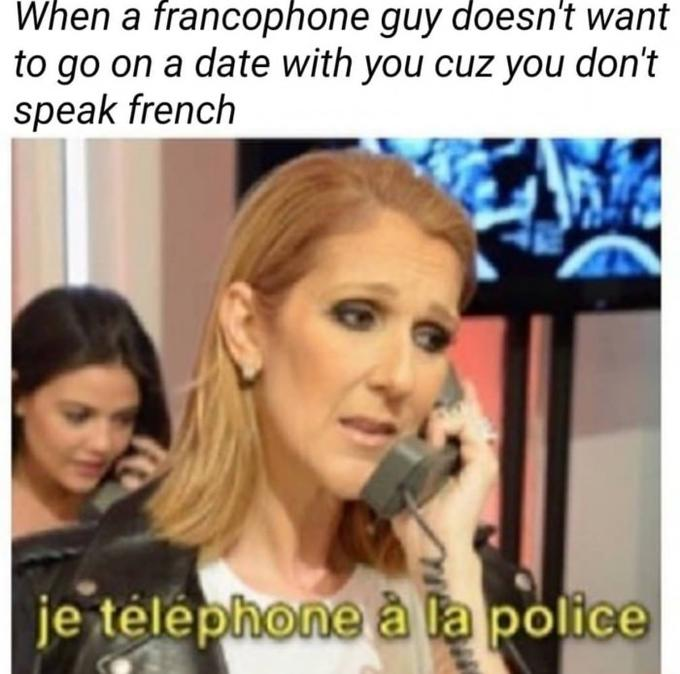 When a francophone guy doesn't want to go on a date with you cuz you don't speak french je télephone à la police Celine Dion Hair Facial expression Eyebrow Blond Photo caption Nose Cheek Hairstyle Human