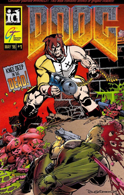 國 G Considel RINED!! THIS Dook coTains sceneS OT graphic VIolence! GT Interactive Software MAY '96 #1 KNEE DEEP IN THE DEAD! DOOM Eternal Comics Fictional character Comic book Fiction Superhero Hulk