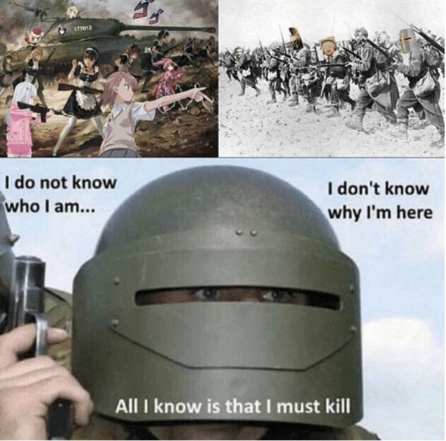 177013 I do not know who I am... I don't know why I'm here All I know is that I must kill Helmet Personal protective equipment Headgear