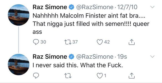 """Raz Simone O @RazSimone · 12/7/10 Nahhhhh Malcolm Finister aint fat bra.... That nigga just filled with semen!!!! queer ass Q 30 2737 42 Raz Simone O @RazSimone 19s I never said this. What the Fuck. 1 > Text Font Motor vehicle Line""""></a> <a href="""