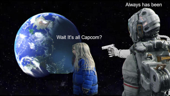 Always has been Wait It's all Capcom? Astronomical object Space Earth Outer space Planet Atmosphere