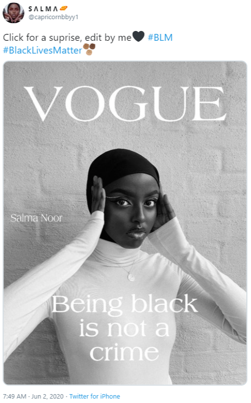 SALMΛ@ @capricornbbyy1 Click for a suprise, edit by me #BlackLivesMatter #BLM VOGUE Salma Noor Being black is not a crime 7:49 AM - Jun 2, 2020 - Twitter for iPhone Anna Wintour Text Font Poster