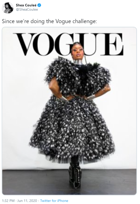 Shea Couleé @SheaCoulee Since we're doing the Vogue challenge: VOGUE 1:32 PM · Jun 11, 2020 · Twitter for iPhone RuPaul's Drag Race Clothing Pattern Fashion Fur Design