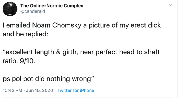 """The Online-Normie Complex @canderaid I emailed Noam Chomsky a picture of my erect dick and he replied: """"excellent length & girth, near perfect head to shaft ratio. 9/10. ps pol pot did nothing wrong"""" 10:42 PM · Jun 15, 2020 · Twitter for iPhone Text Font Line"""