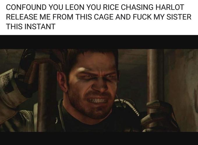 CONFOUND YOU LEON YOU RICE CHASING HARLOT RELEASE ME FROM THIS CAGE AND FUCK MY SISTER THIS INSTANT Chris Redfield Leon S. Kennedy Claire Redfield Text Photo caption Human