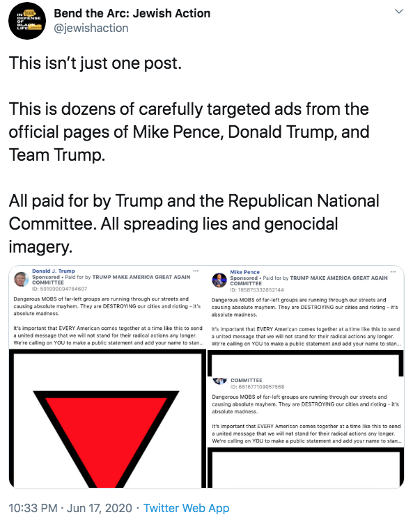 """Bend the Arc: Jewish Action DEFENSE OF BL LIFE @jewishaction This isn't just one post. This is dozens of carefully targeted ads from the official pages of Mike Pence, Donald Trump, and Team Trump. All paid for by Trump and the Republican National Committee. All spreading lies and genocidal imagery. Donald J. Trump Mike Pence Sponsored - Paid for by TRUMP MAKE AMERICA GREAT AGAIN COMMITTEE Sponsored - Paid for by TRUMP MAKE AMERICA GREAT AGAIN COMMITTEE ID: 591999094784607 ID: 185875332852144 Dangerous MOBS of far-left groups are running through our streets and causing absolute mayhem. They are DESTROYING our cities and rioting - it's Dangerous MOBS of far-left groups are running through our streets and causing absolute mayhem. They are DESTROYING our cities and rioting - it's absolute madness. absolute madness. It's important that EVERY American comes together at a time like this to send 's important that EVERY American comes together at a time like this to send a united message that we will not stand for their radical actions any longer. We're calling on You to make a public statement and add your name to stan. We're caling on YOU to make a public statement and add your name to stan. a united message that we will not stand for their radical actions any longer. COMMITTEE ID: 681677109057568 Dangerous MOBS of far-left groups are running through our streets and causing absolute mayhem. They are DESTROYING our cities and rioting - it's absolute madness. It's important that EVERY American comes together at a time like this to send a united message that we will not stand for their radical actions any longer. We're calling on You to make a public statement and add your name to stan. 10:33 PM Jun 17, 2020 · Twitter Web App > Text Font Line"""" class="""" kym-image image-auto-link"""" id=""""photo_1863625″ title=""""This isn't just one post. This is dozens of carefully targeted ads from the official pages of Mike Pence, Donald Trump, and """"></a> </center>The following day, <a href="""