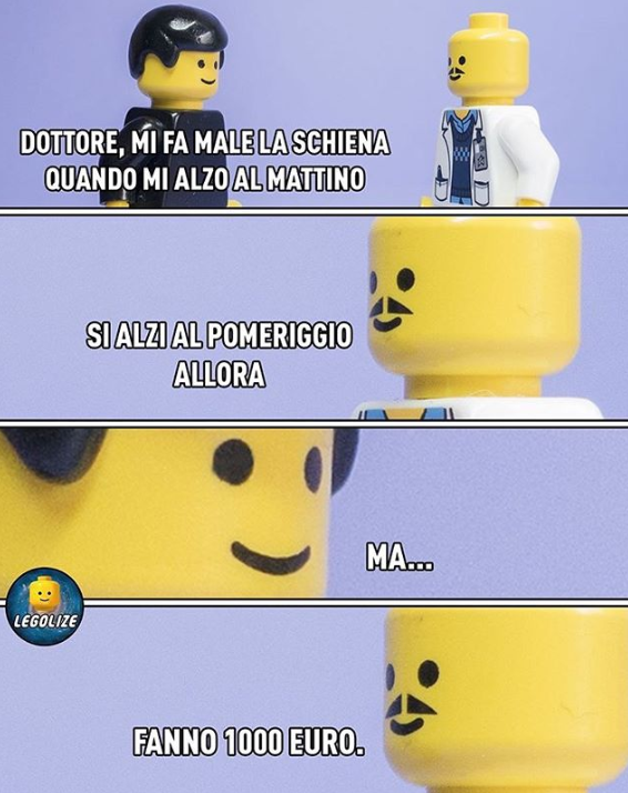 DOTTORE, MI FA MALE LA SCHIENA QUANDO MI ALZO AL MATTINO SI ALZI AL POMERIGGIO ALLORA MA.. LEGOLIZE FANNO 1000 EURO. Yellow