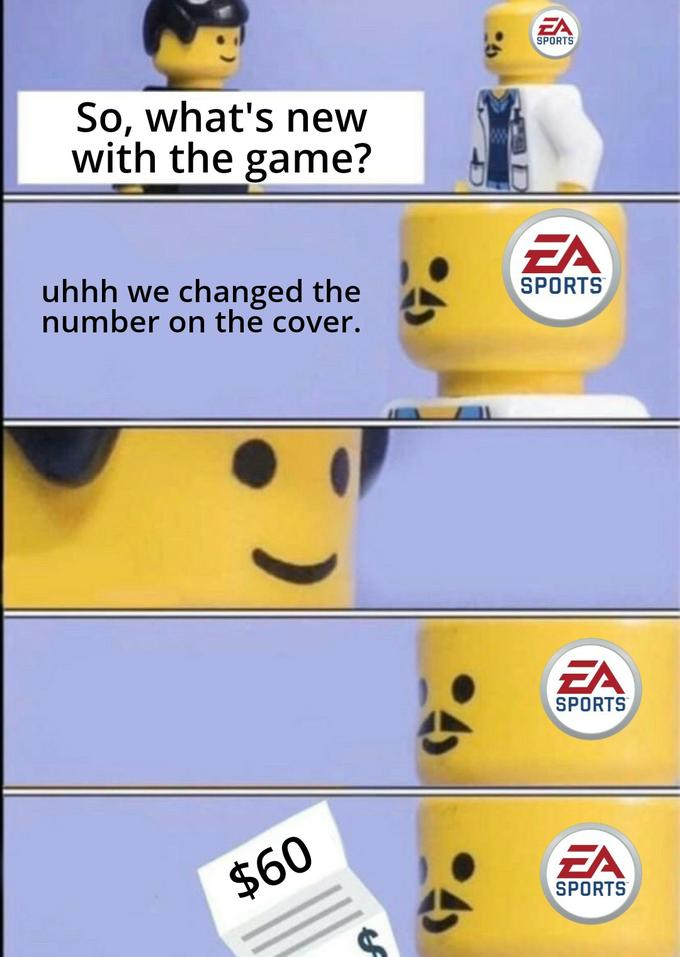 EA SPORTS So, what's new with the game? EA uhhh we changed the number on the cover. SPORTS EA SPORTS $60 EA SPORTS Emoticon Yellow Smiley