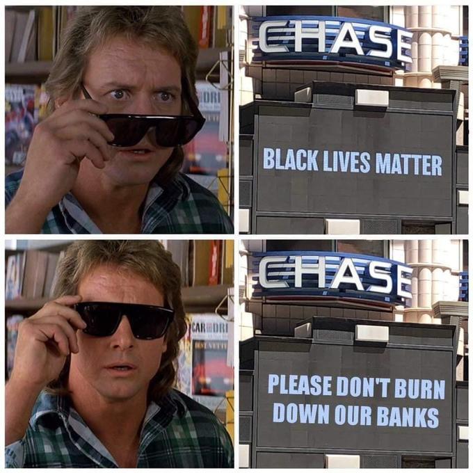 EFASE DRI BLACK LIVES MATTER EFFASE CAR DRI NEVE PLEASE DON'T BURN DOWN OUR BANKS 貝 Eyewear Glasses Sunglasses Cool