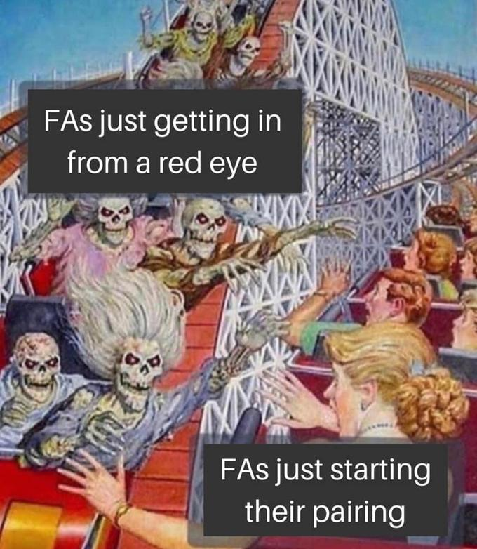 FAs just getting in from a red eye FAs just starting their pairing Cartoon Text Fiction