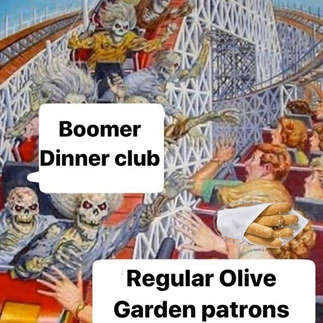 Boomer Dinner club Regular Olive Garden patrons Cartoon Poster