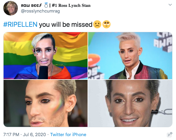 AaW BEEF 8I #1 Ross Lynch Stan @rosslynchcumrag #RIPELLEN you will be missed AHA 7:17 PM · Jul 6, 2020 · Twitter for iPhone Face Facial expression Nose Skin Head Forehead Cheek Eyebrow Chin Text Human Eye Lip