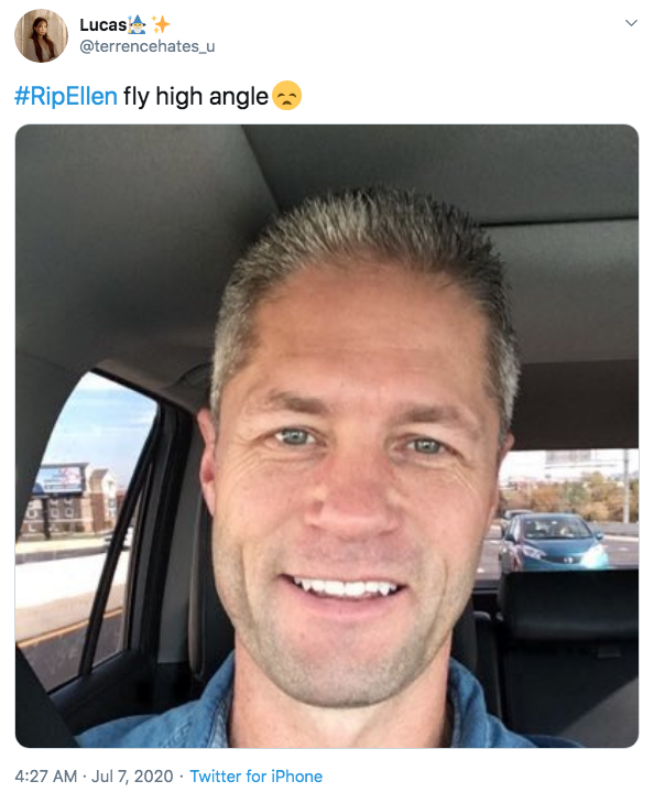 """Lucas @terrencehates_u #RipEllen fly high angle 4:27 AM · Jul 7, 2020 · Twitter for iPhone ></noscript> Sean Larkin Live PD Face Hair Facial expression Forehead Chin Head Eyebrow Nose Hairstyle Selfie Photography"""" class="""" kym-image image-auto-link"""" id=""""photo_1870484″ title=""""#RipEllen fly high angle😞""""></a> </center></p> <h2 id="""