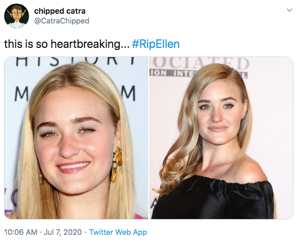 """chipped catra @CatraChipped this is so heartbreaking... #RipEllen HISIU KTOCIATED ION INTE M 10:06 AM · Jul 7, 2020 · Twitter Web App ></noscript> AJ Michalka Carrie Michalka She-Ra and the Princesses of Power Face Hair Skin Eyebrow Nose Blond Chin Hairstyle Cheek Head Forehead Lip Beauty Makeover Hair coloring Long hair Eye Shoulder"""" class="""" kym-image image-auto-link"""" id=""""photo_1870493″ title=""""this is so heartbreaking… #RipEllen""""></a> <a href="""