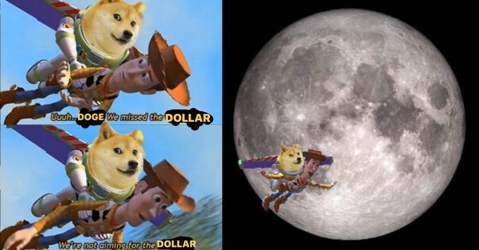 Uuuh.DOGE We missed the DOLLAR We're not aiming for the DOLLAR Animated cartoon Moon Canidae Dog Shiba inu Animation