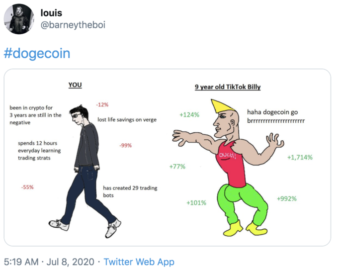 louis @barneytheboi #dogecoin YOU 9 year old TikTok Billy -12% been in crypto for 3 years are still in the haha dogecoin go +124% lost life savings on verge brrrrrrrrrrrrrrrrrrrrrr negative spends 12 hours everyday learning trading strats -99% OUCH! +1,714% +77% -55% has created 29 trading bots +992% +101% 5:19 AM · Jul 8, 2020 · Twitter Web App Cartoon Text